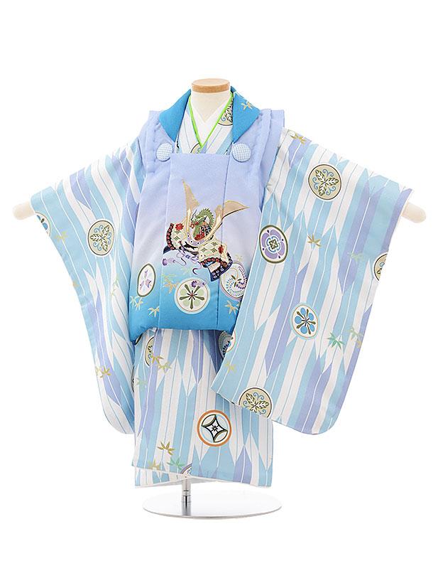 七五三レンタル(3歳男児被布)2600ブルーぼかし兜x白ブルー矢羽根