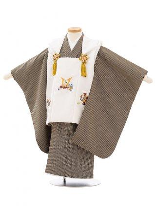 七五三レンタル(3歳男児被布)2605白兜刺繍x黒ベージュ変わりドット