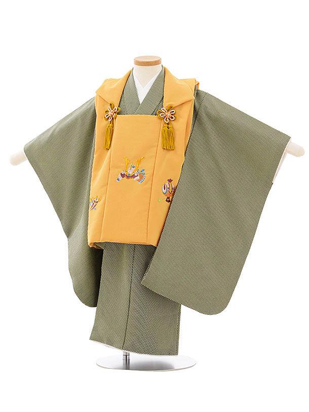 七五三レンタル(3歳男児被布)2606からし色兜刺繍xベージュ深緑変わりドット