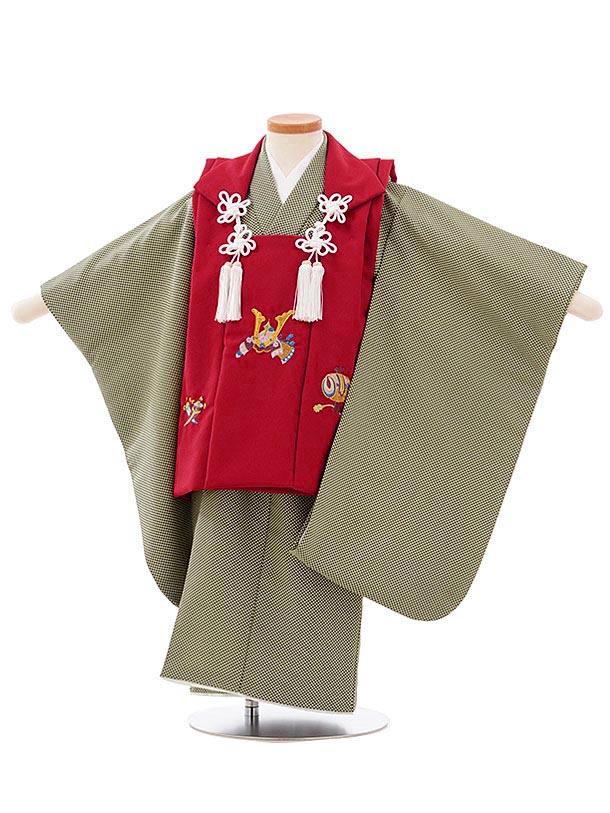 七五三レンタル(3歳男児被布)2607エンジ色兜刺繍xベージュ深緑変わりドット