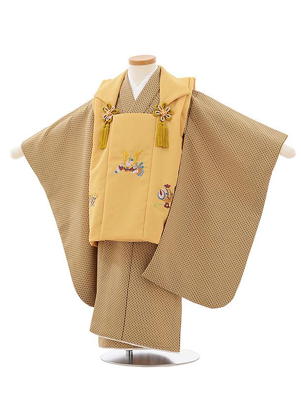 七五三レンタル(3歳男児被布)2608からし色兜刺繍xベージュ変わりストライプ
