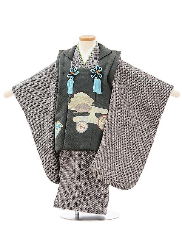 七五三(3歳男児被布)高級正絹2616深緑地松丸紋x黒絞り