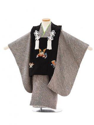七五三(3歳男児被布)高級正絹2618黒 兜刺繍
