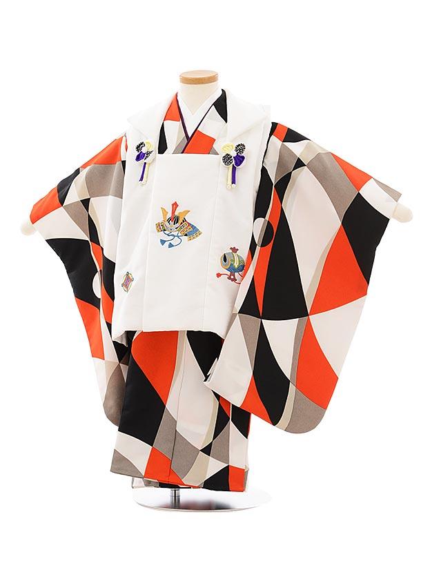 七五三レンタル(3歳男児被布)2620白兜刺繍x白黒赤変わり柄