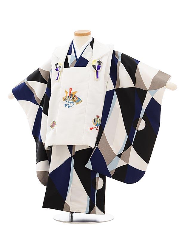 七五三レンタル(3歳男児被布)2621白刺繍x白黒ブルー変わり柄