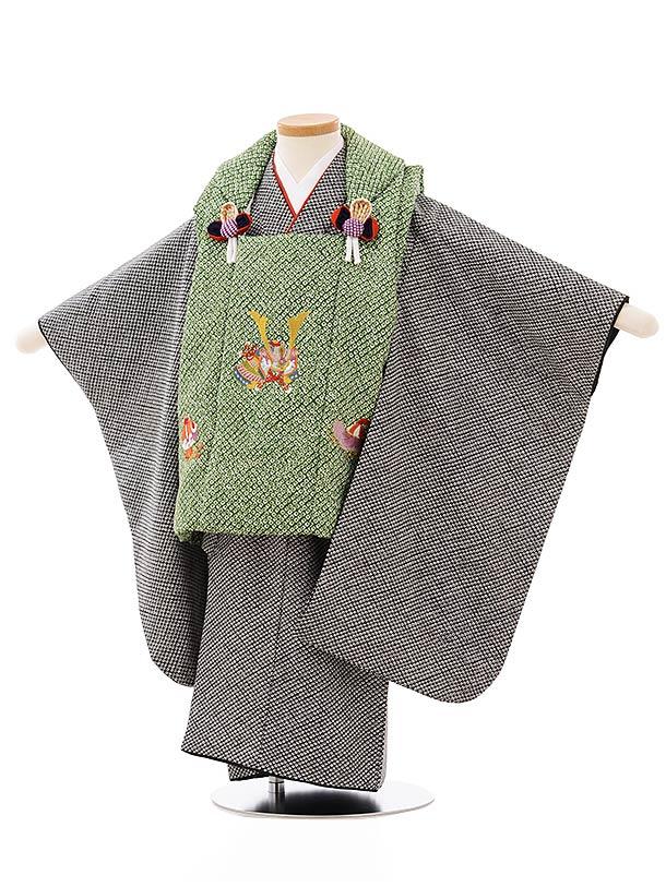 七五三レンタル(3歳男児被布)2622グリーン地兜刺繍x黒疋田柄