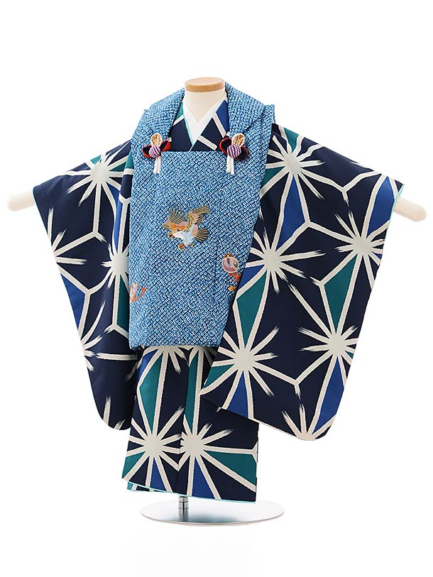 七五三レンタル(3歳男児被布)2624ブルー地鷹刺繍x紺地麻の葉