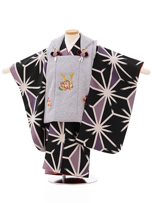 七五三レンタル(3歳男児被布)2625グレー地兜刺繍x黒地麻の葉