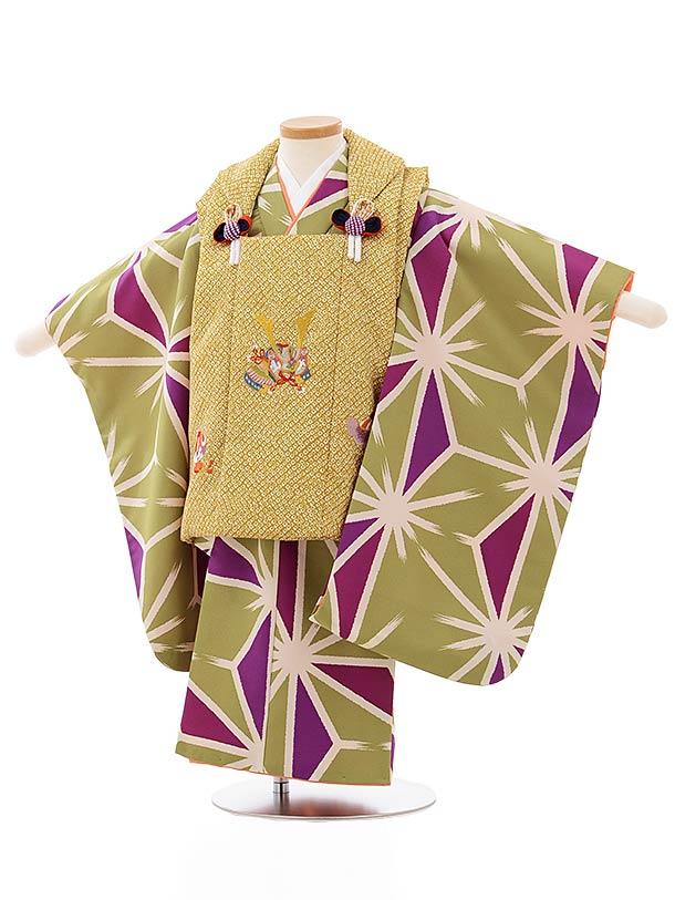 七五三レンタル(3歳男児被布)2626からし色兜刺繍xグリーン地麻の葉