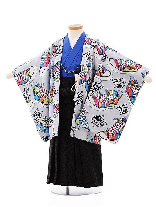 七五三レンタル(3歳,4歳男袴)2640グレー地スニーカーx黒ラメ袴