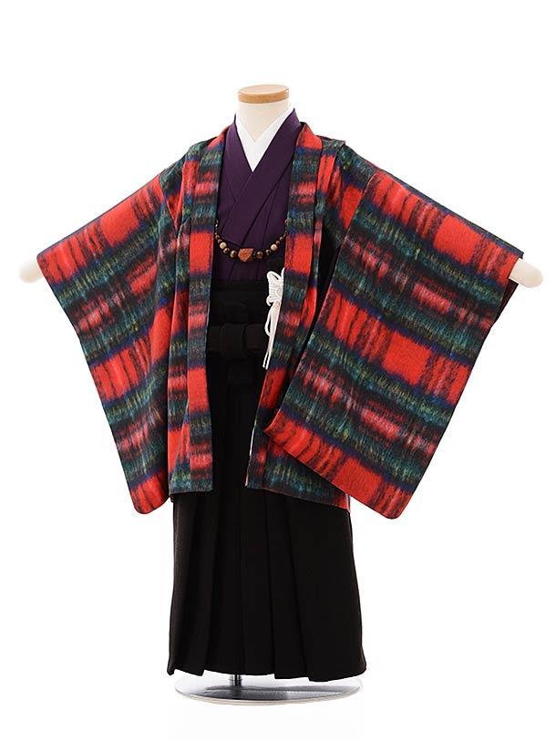 七五三レンタル(3歳,4歳男袴)2641赤チェックプリントxこげ茶袴