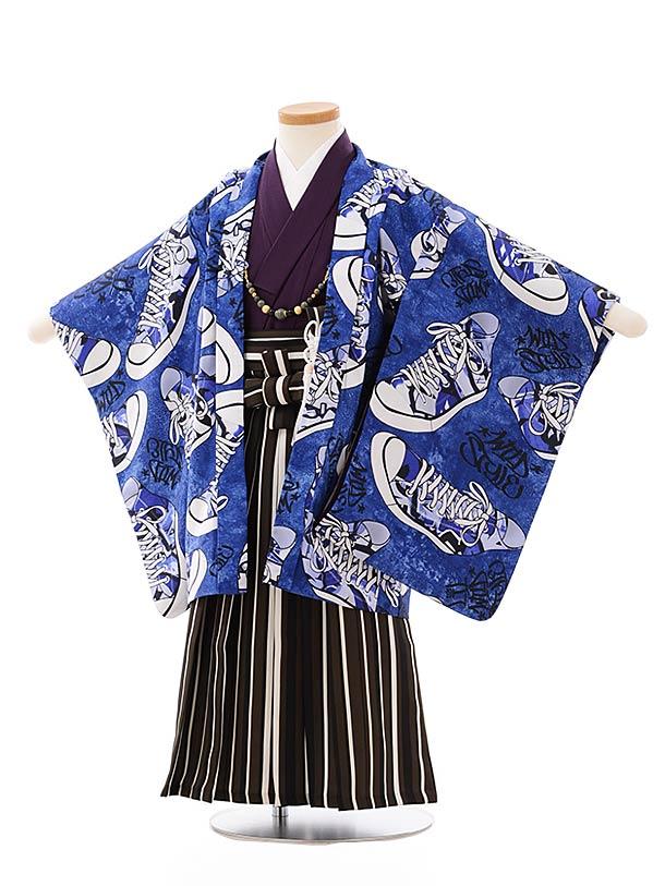 七五三レンタル(3歳,4歳男袴)2642ブルー地スニーカーxブラウンストライプ袴