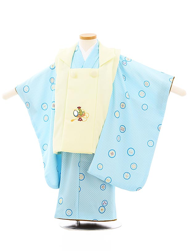 七五三レンタル(3歳男児被布)2647うす黄色刺繍小槌x水色市松丸紋