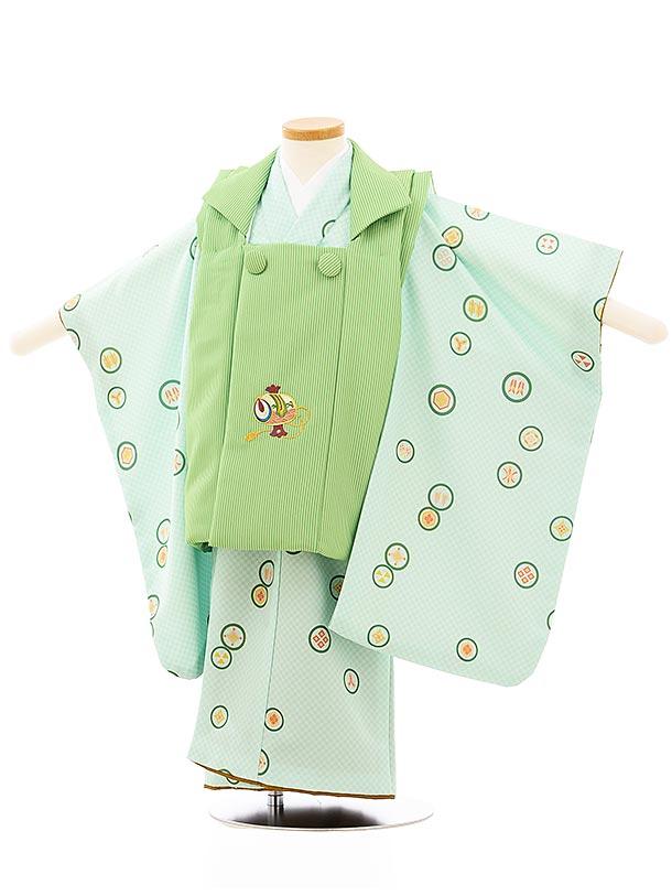 七五三レンタル(3歳男児被布)2649グリーン縞刺繍小槌xグリーン市松丸紋