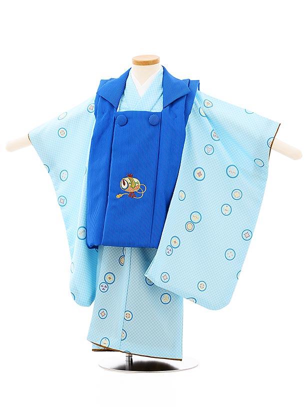 七五三レンタル(3歳男児被布)2650ブルーストライプ刺繍小槌x水色市松丸紋