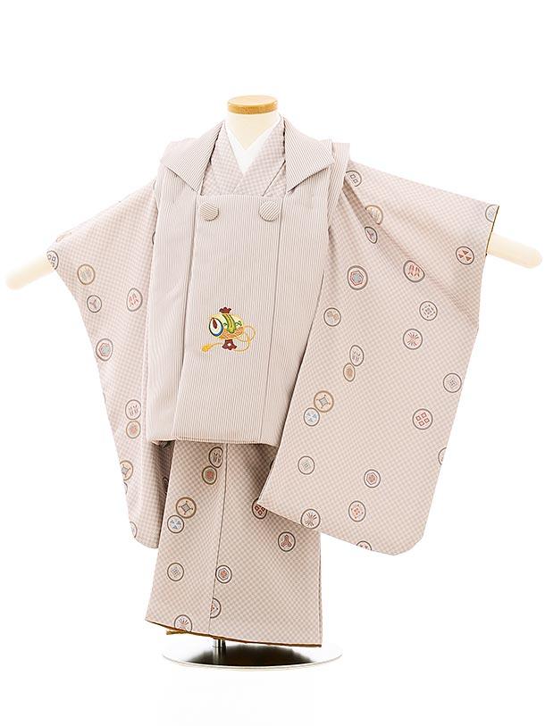 七五三レンタル(3歳男児被布)2651モカ茶縞刺繍小槌xモカ茶市松丸紋