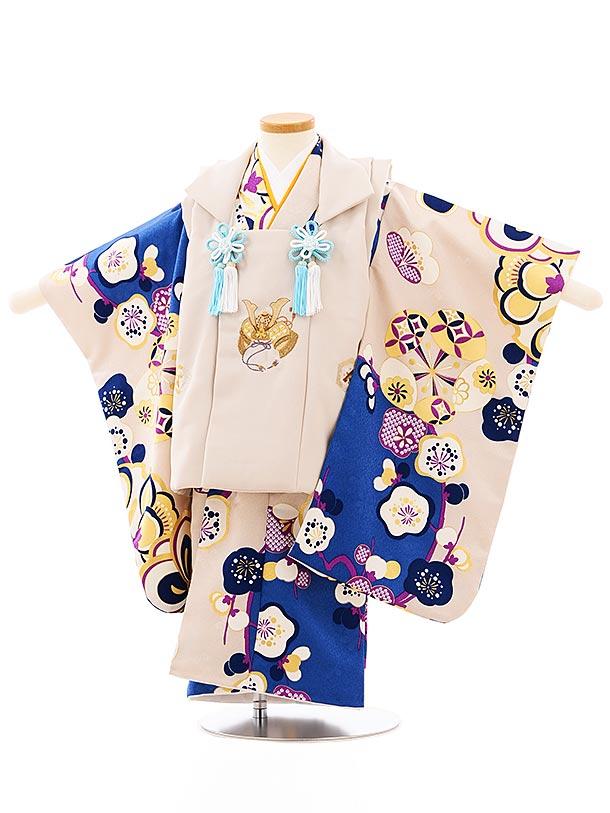 七五三レンタル(3歳男児被布)2656ベージュ刺繍兜xベージュ梅