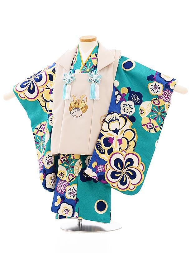 七五三レンタル(3歳男児被布)2657ベージュ刺繍兜xグリーン梅