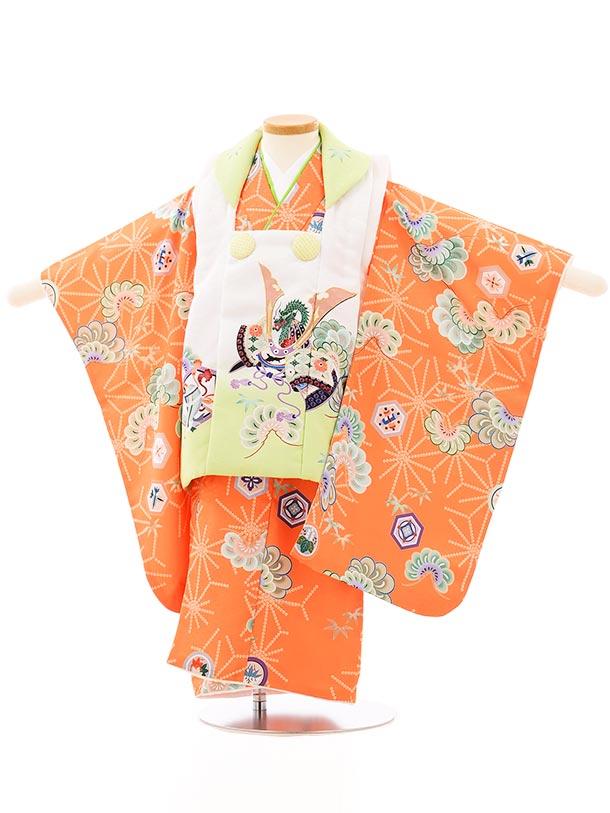 七五三レンタル(3歳男児被布)2658白地兜xオレンジ松亀甲紋