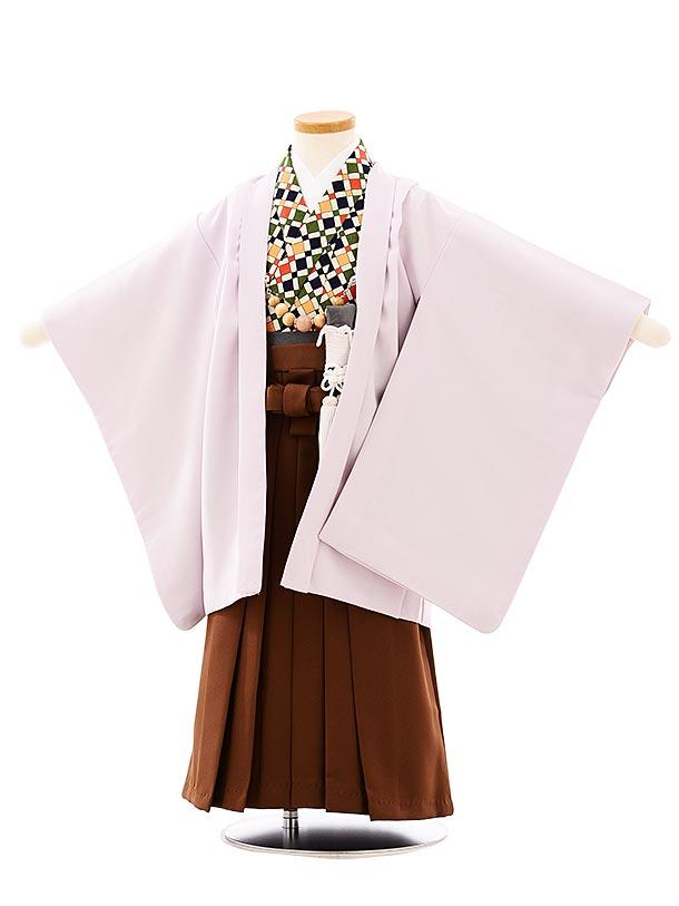 七五三レンタル(3歳,4歳男袴)2659うすパープルx茶色袴