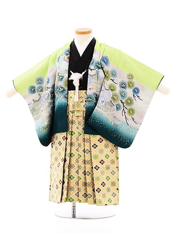 七五三レンタル(2歳,3歳男袴)2662ライトグリーン雲取り兜xゴールド菱袴