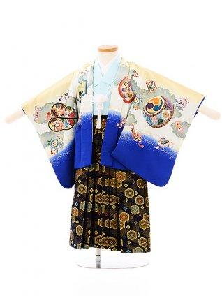 七五三レンタル(2歳,3歳男袴)2663ベージュブルーぼかし兜x紺ゴールド袴
