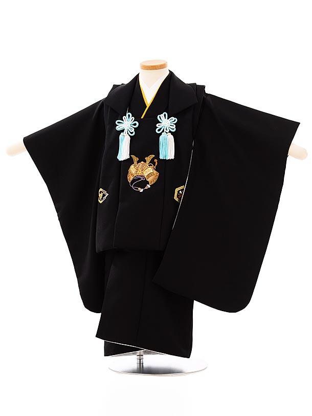 七五三レンタル(3歳男児被布)2670黒刺繍兜x黒