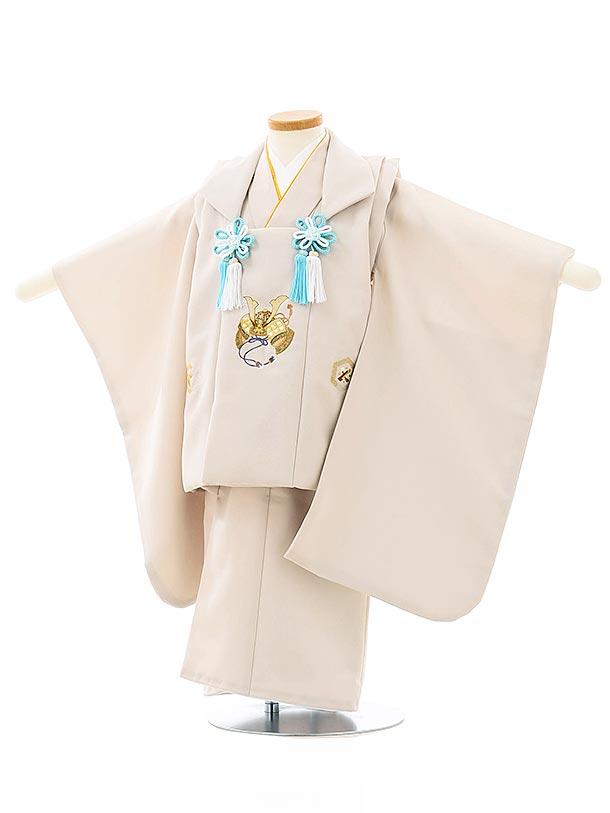 七五三レンタル(3歳男児被布)2671ベージュ刺繍兜xベージュ