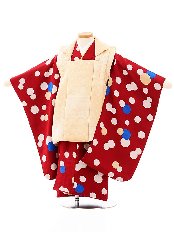 七五三レンタル(3歳男児被布)2682クリーム色ぼかしx赤ドット