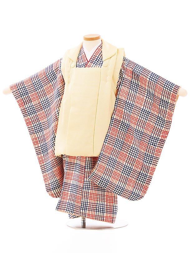 七五三レンタル(3歳男児被布)2683高級正絹クリーム色xベージュ手描格子