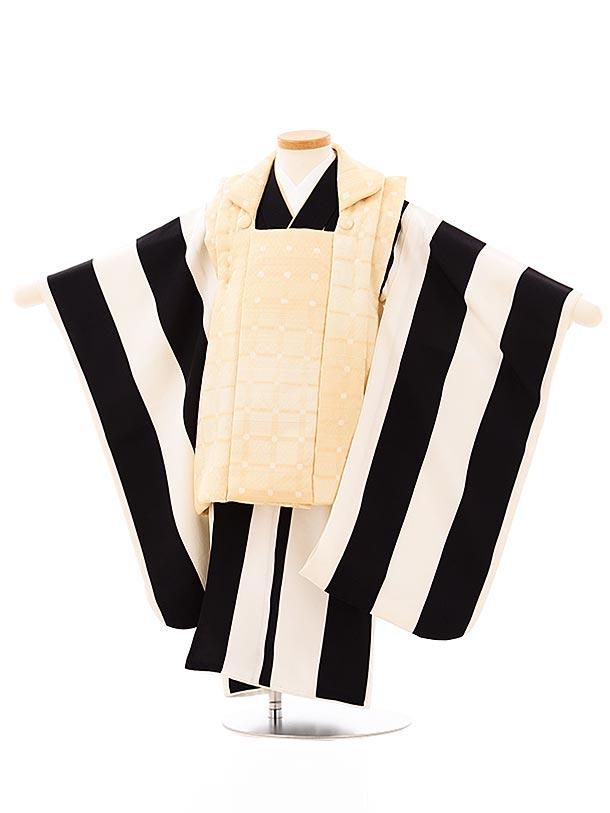 七五三レンタル(3歳男児被布)2684高級正絹クリーム色ぼかしx白黒太縞