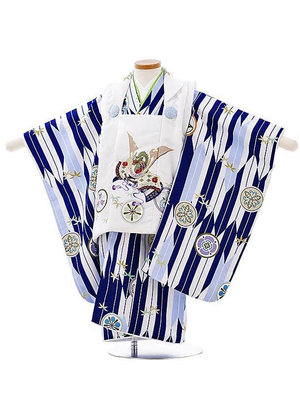 七五三レンタル(3歳男児被布)2687白地丸紋兜x紺矢柄丸紋