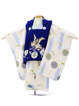 七五三レンタル(3歳男児被布)2688紺地丸紋兜x白矢柄丸紋