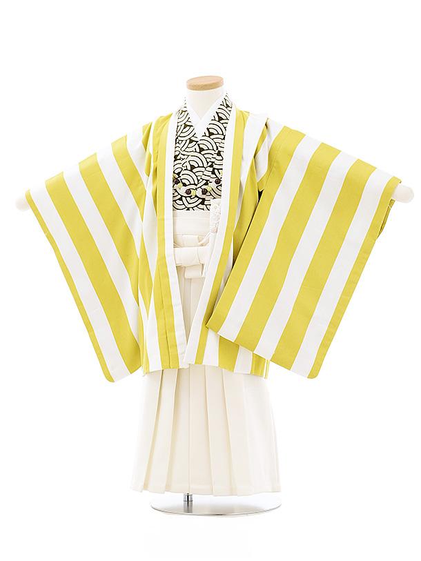 七五三(3歳,4歳男袴)2695 SABINUKI ライムグリーン縞x白ラメ袴
