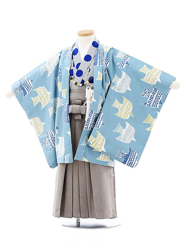 七五三(3歳,4歳男袴)2697SABINUKI パステルブルー鳥xグレーラメ袴