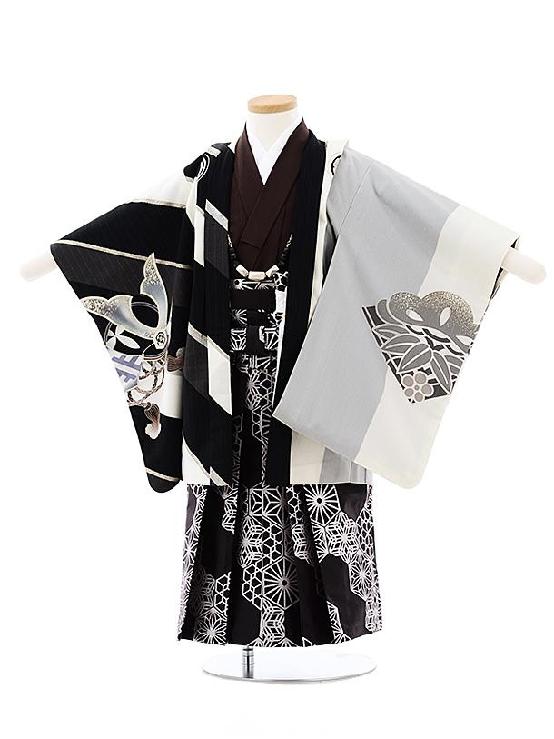 七五三レンタル(3歳男袴)2698JAPAN STYLE 黒白縞鷹x黒シルバー袴