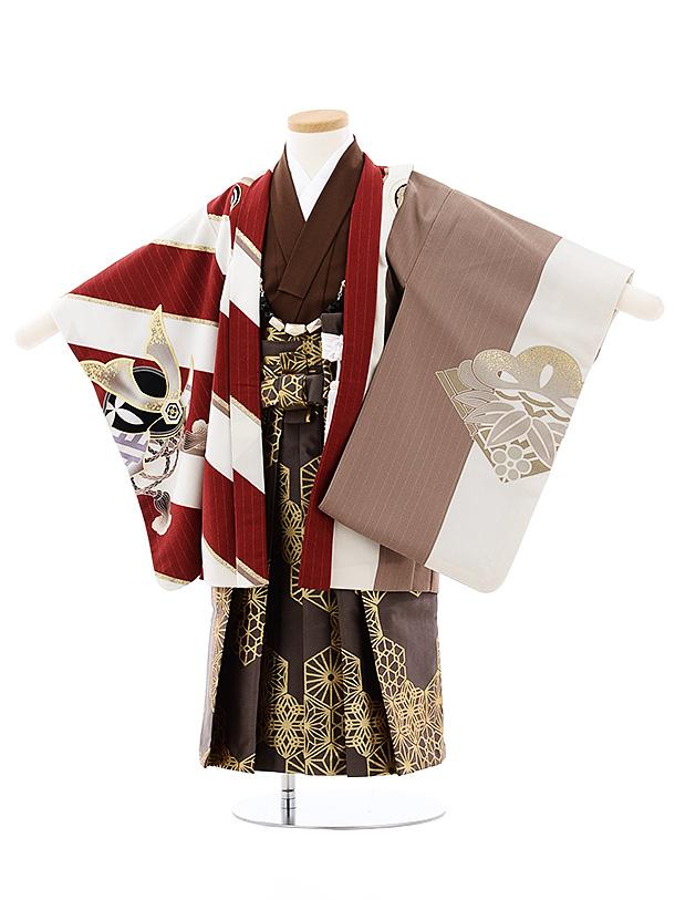 七五三(3歳男袴)2699JAPAN STYLE エンジ白縞鷹x茶色ゴールド袴