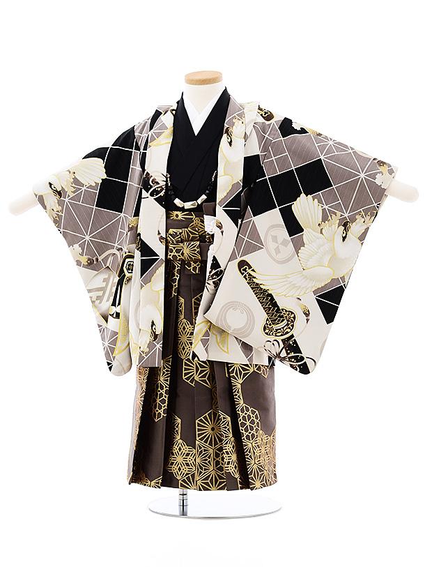 七五三(3歳男袴)2700JAPAN STYLE 黒グレー鷹兜x茶色ゴールド袴