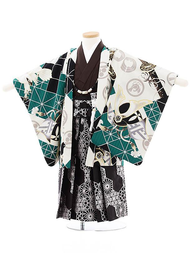 七五三(3歳男袴)2701JAPAN STYLE 黒グリーン鷹兜x黒シルバー袴