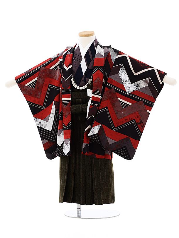 七五三レンタル(3歳男袴)2702モダンアンテナ 黒赤小紋稲妻xグリーン袴