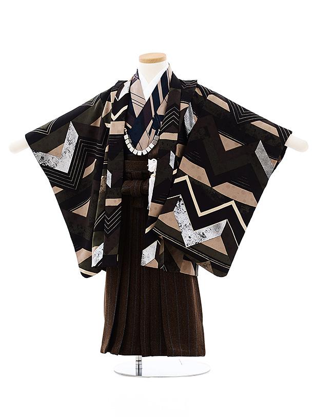 七五三(3歳男袴)2703モダンアンテナ 黒モスグリーン小紋稲妻xブラウン袴