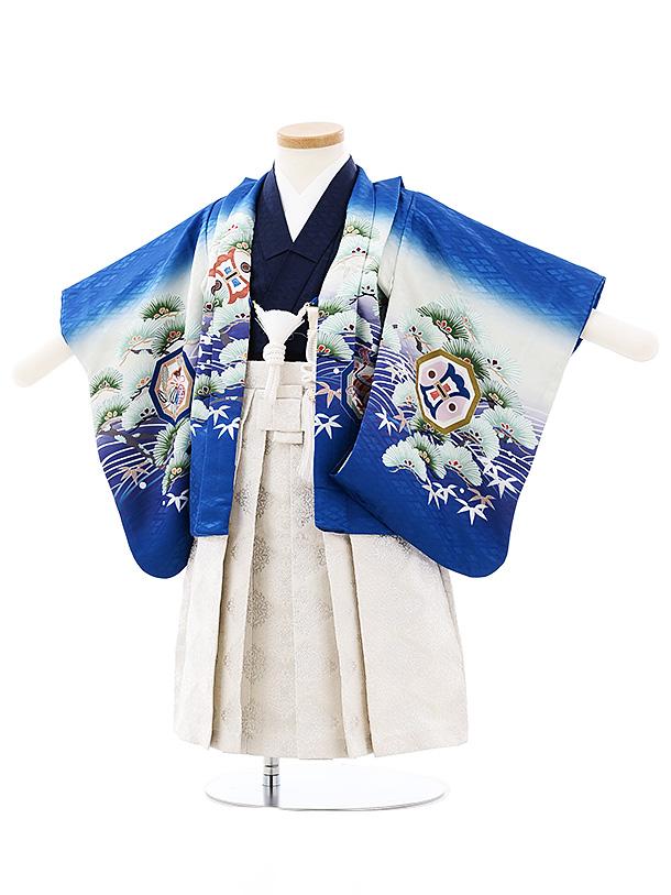 七五三(小さめ2歳男袴)2704ブルーぼかし波松鷹x白シルバー袴