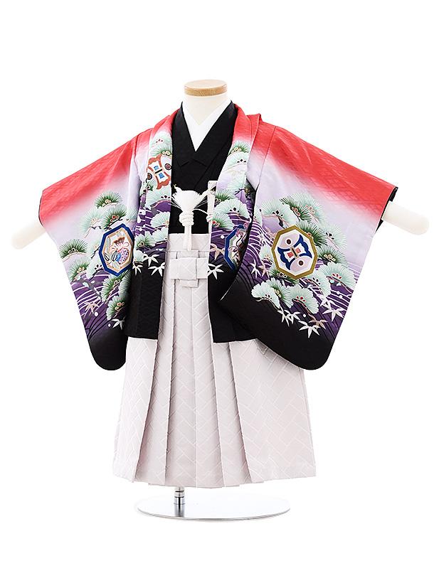 七五三(小さめ2歳男袴)2705赤黒ぼかし波松鷹xうすパープル袴
