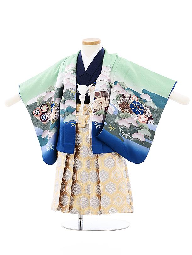 七五三(小さめ2歳男袴)2707ブルーグリーンぼかし兜xゴールド亀甲袴