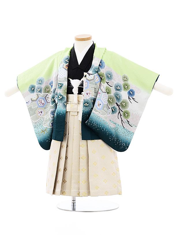 七五三(小さめ2歳男袴)2708ライトグリーンぼかし兜x白ゴールド袴