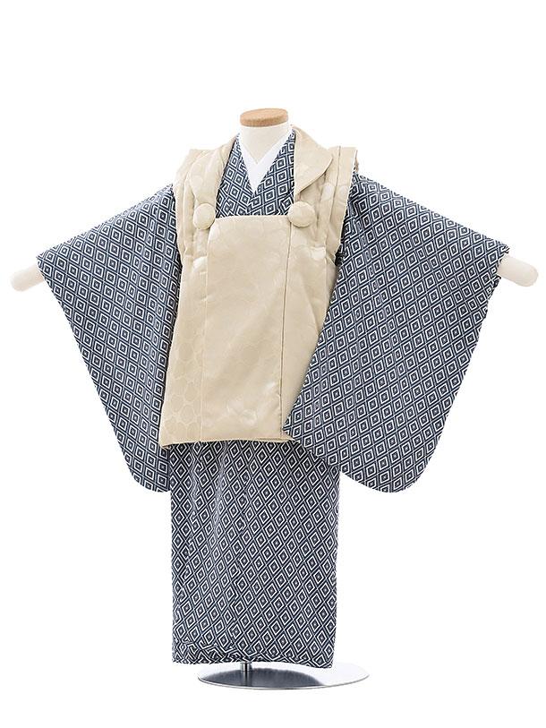 七五三レンタル(3歳男児被布)2713ベージュ水玉xブルー菱
