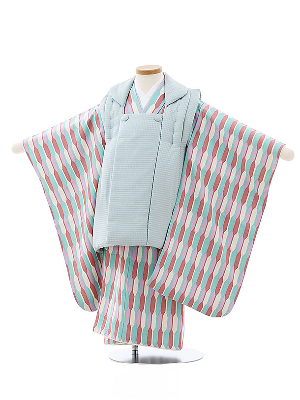 七五三レンタル(3歳男児被布)2729【正絹】水色x白ピンクグリーン変わり柄