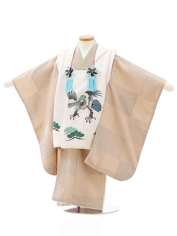 七五三レンタル(3歳男児被布)2740【正絹】ホワイト地松鷹×ベージュ市松