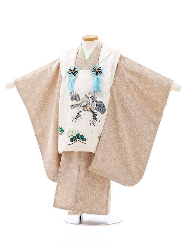 七五三レンタル(3歳男児被布)2750【正絹】ホワイト地松鷹×ベージュ麻の葉