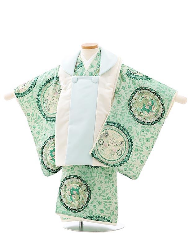 七五三レンタル(3歳男児被布)2751九重 白水色xグリーン更紗